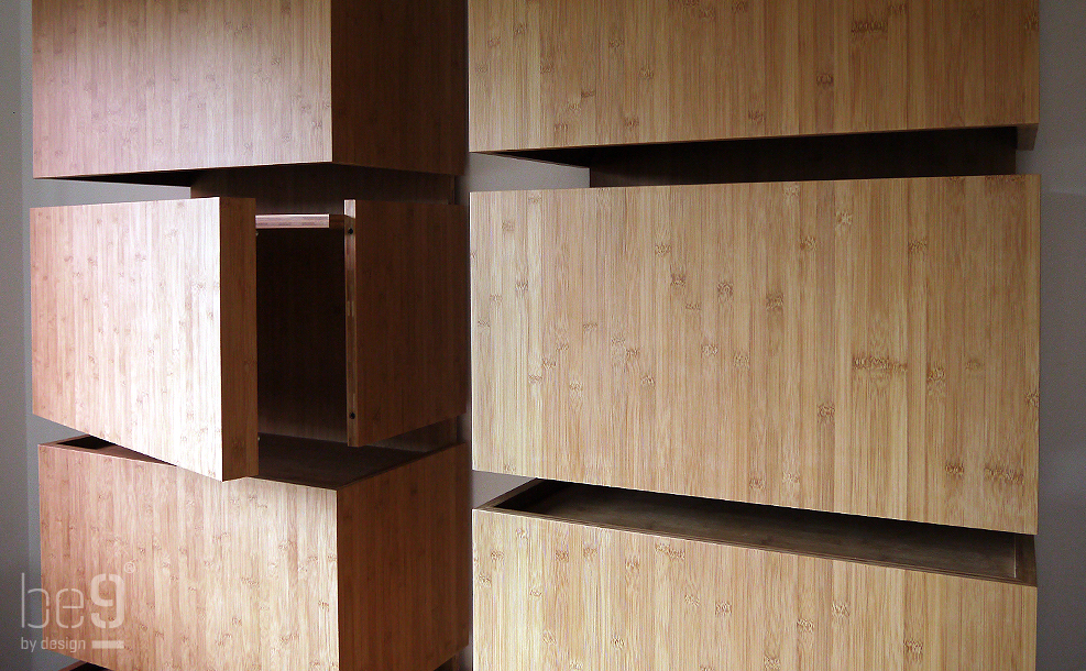 Detail of the bamboo bookcase